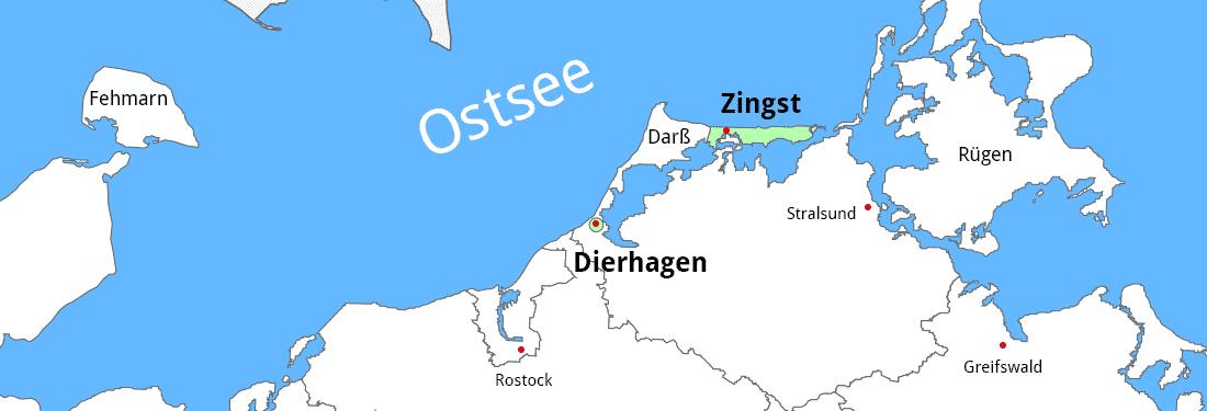 Karte mit Dierhagen und Zingst